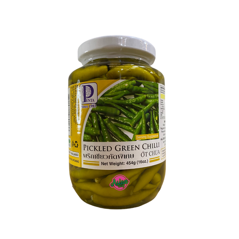 Penta Pickled Green Chilli 454g Front