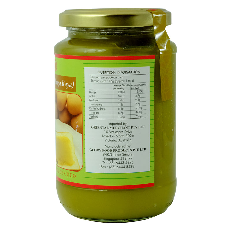 Glory Coconut spread (Nonya Kaya) 400g Nutritional Information & Ingredients