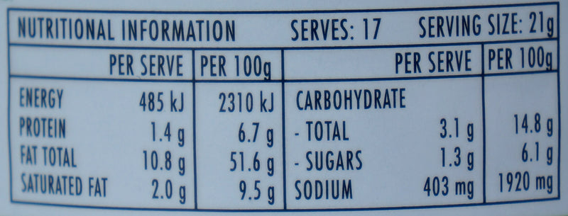 Jimmy's Sate Sauce 360g Nutritional Information & Ingredients
