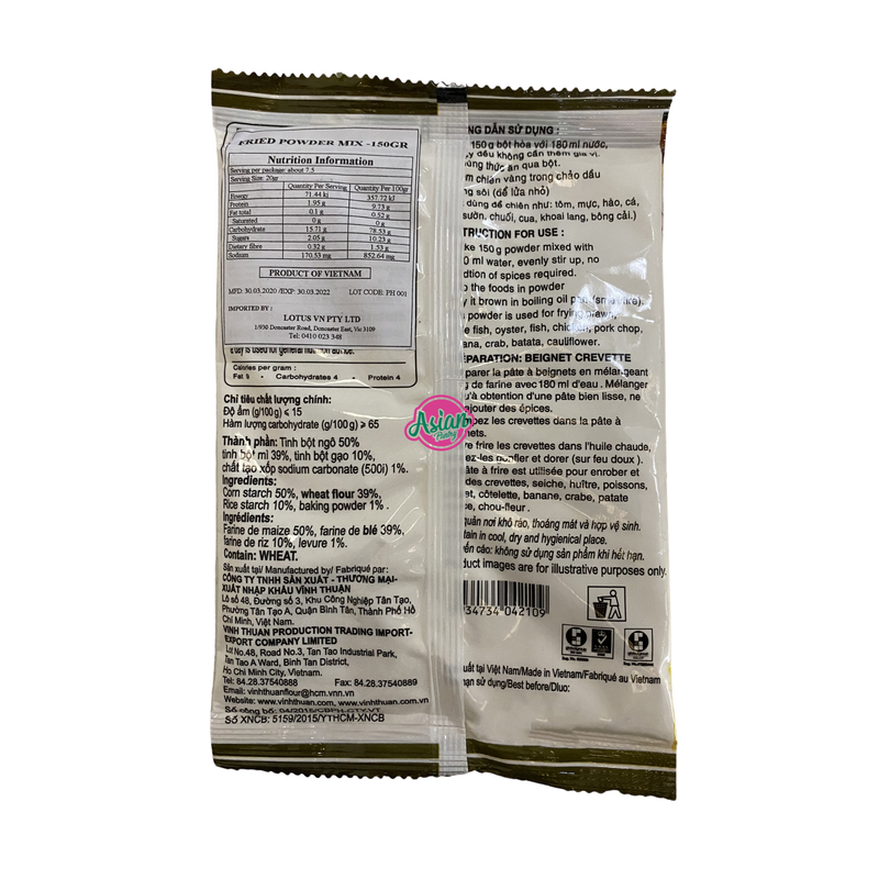 Vinh Thuan Fried Powder Mix 150g Back