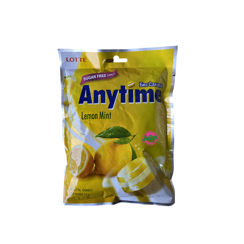 Lotte Anytime Candy Lemon Mint 74g Front