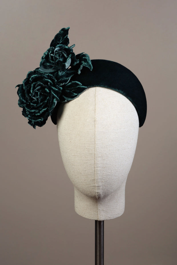Alison Headband - Green Velvet Rose