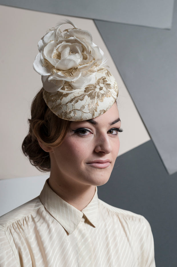 Gold&Ivory Peony Cocktail Hat