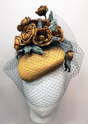 Mustard Yellow Roses Cocktail Hat