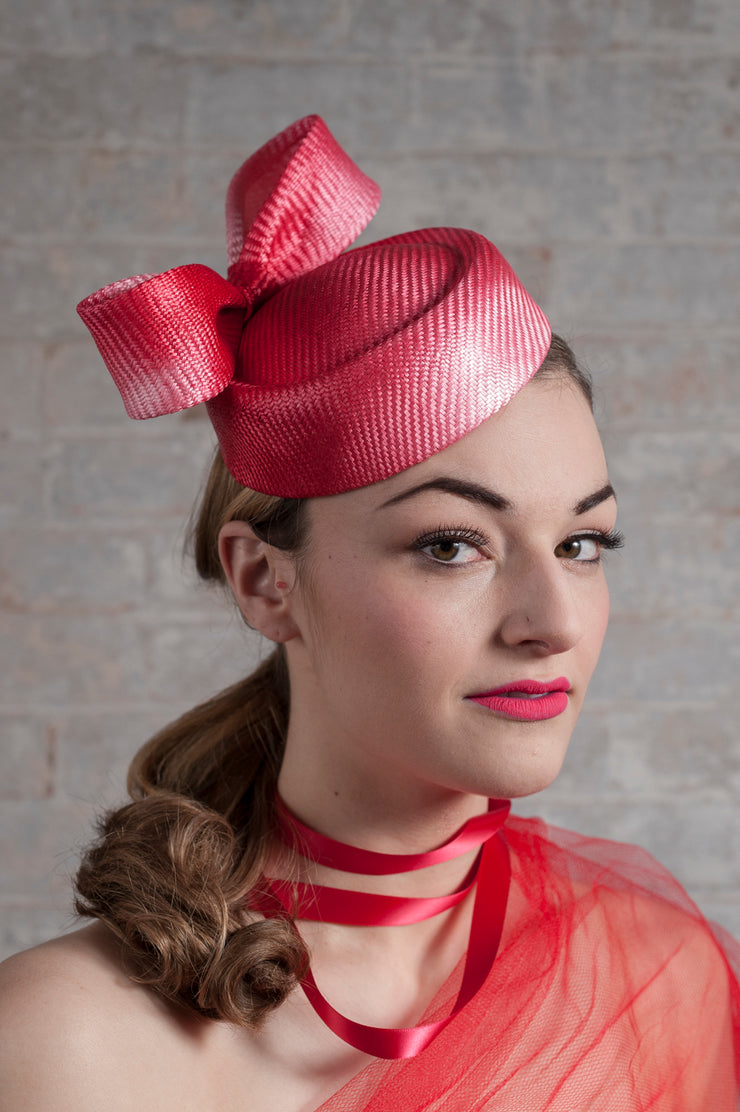 Raspberry Bow Cocktail Hat