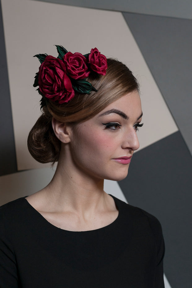 Three Silk Roses Headpiece