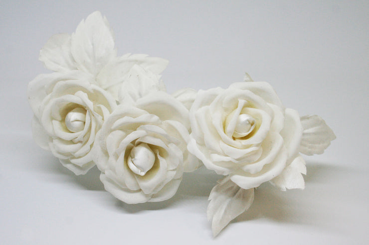 Ivory Roses Headpiece