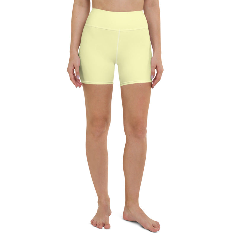 Women's yellow double layered cycling shorts
