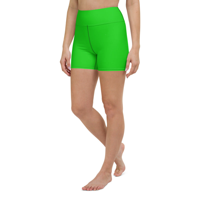 Women's greenplain yoga shorts