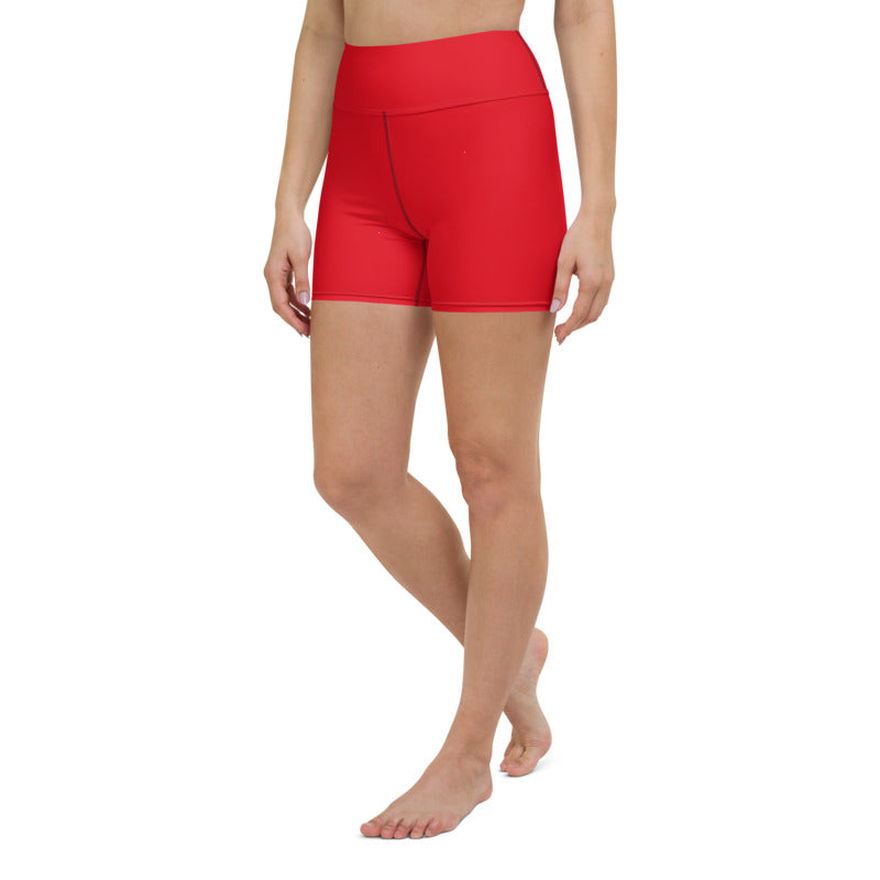 Women's red plain yoga shorts