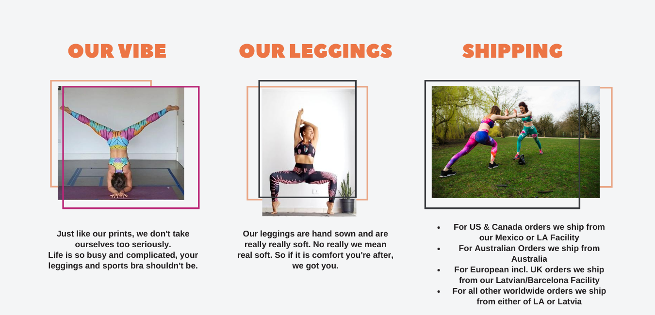 three images explaining shipping facilities, what the leggings are made of