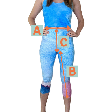 women in capri leggings with sizing indicators