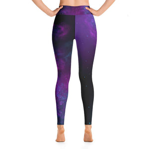 Woman's yoga leggings purple and black