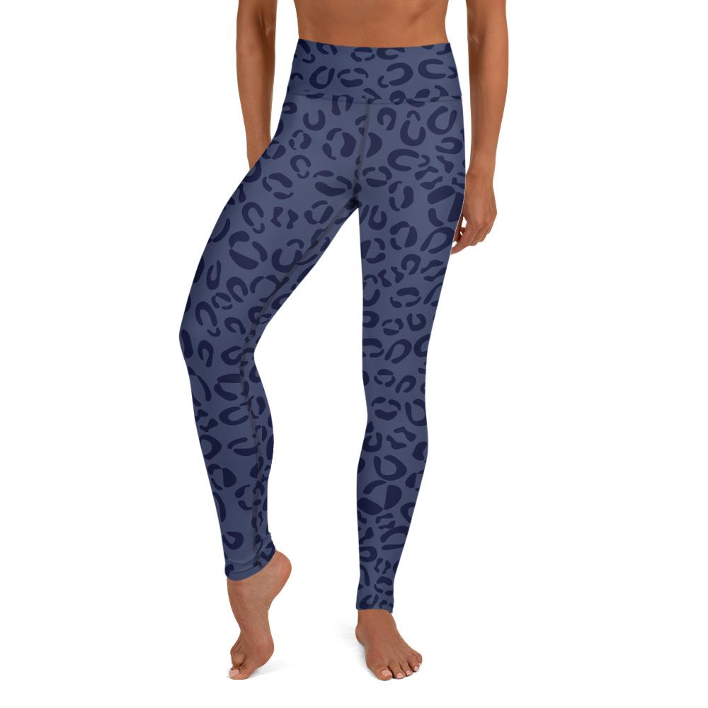 Yoga Leggings for Woman in Blue Leopard Print