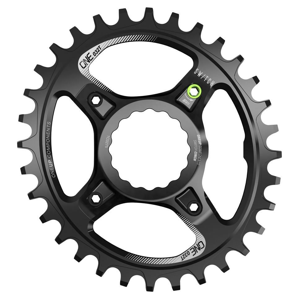 OneUp-Components-Switch-Chainring-32T-Oval-Traction-Race-Face-Cinch-Black-Front-966