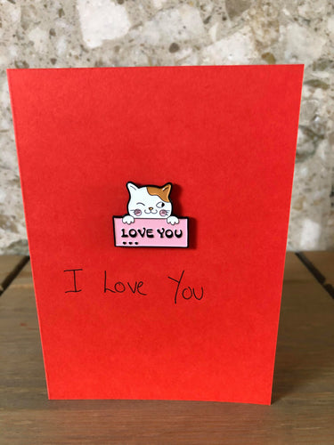 'I Love You' cat with envelope pin card
