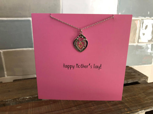 Mother's Day card with necklace