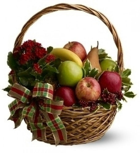 Christmas Decorated Fruit and plant Basket