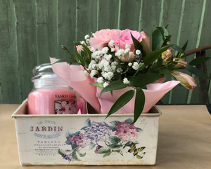 Flowers and Yankee Candle Gift
