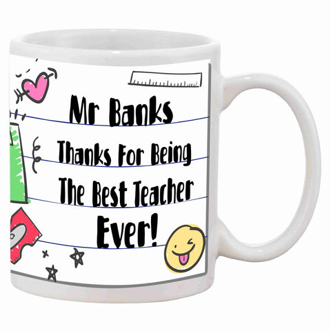 Personalised Teacher Thank You For Being The Best Mug - Click My Clobber