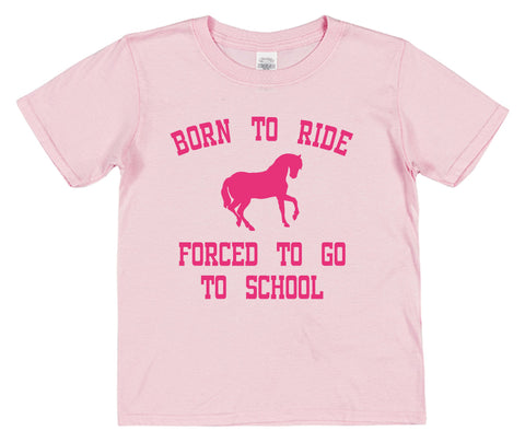 Born To Ride Forced To Go To School Kids Cotton T-Shirt - Click My Clobber