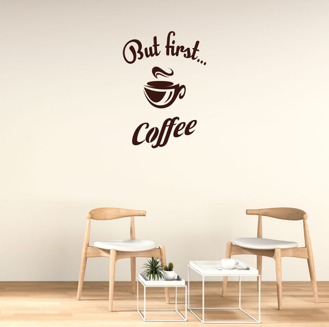 But First Coffee Wall Decal - Click My Clobber