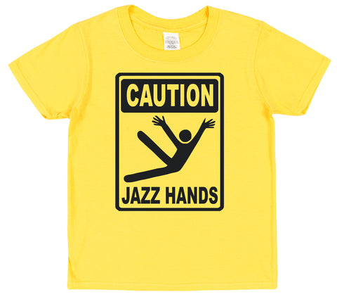 Caution Jazz Hands Kids Cotton T-Shirt - Click My Clobber
