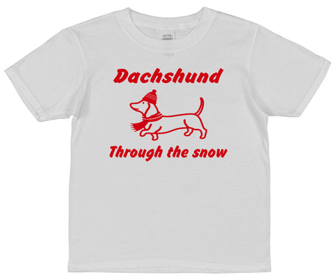 Dachshund Through The Snow Christmas T-Shirt (Mens, Ladies or Kids)