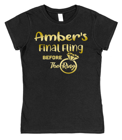 Personalised Final Fling Before The Ring Hen Night T-Shirt