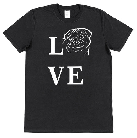 Love Pug Dog T-Shirt (Mens or Ladies) - Click My Clobber