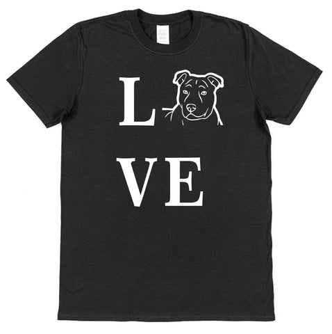 Love Staffy Dog T-Shirt (Mens or Ladies) - Click My Clobber