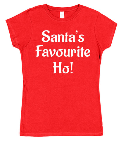 Santa's Favourite Ho! Ladies Christmas T-Shirt - Click My Clobber