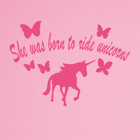 She Was Born To Ride Unicorns Wall Decal - Click My Clobber
