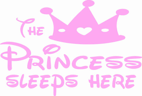 The Princess Sleeps Here Wall Decal - Click My Clobber