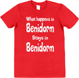 Personalised What Happens In ? Stays in ? Stag Do or Hen Party T-Shirts