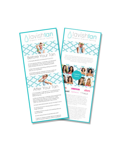 Promotional Cards - Prep & After Care - Lavish Tan ™ - Organic Spray Tanning Solutions