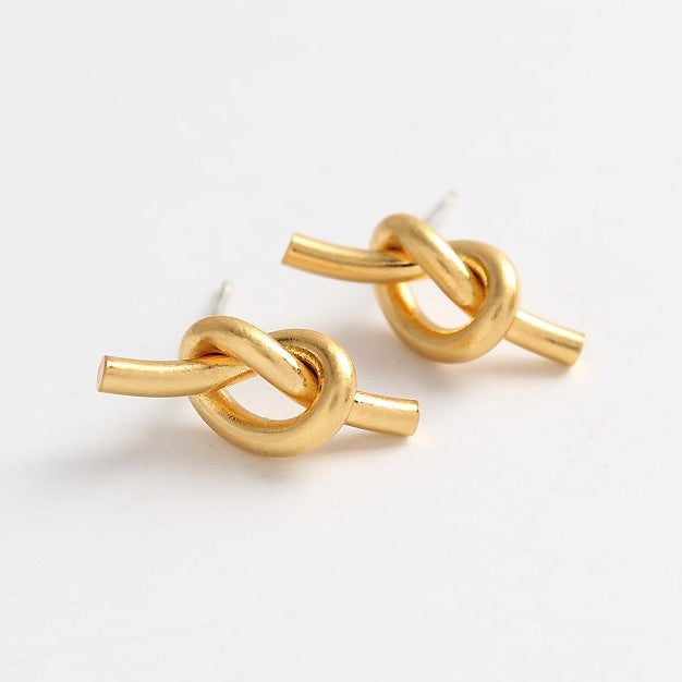 18K Gold Plated Knot Studs Earrings