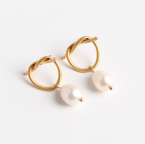 18K Gold Plated Love Knot Freshwater Pearl Earrings