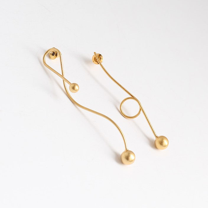 18K Gold Plated Modern Abstract Drop Earrings - Silver Posts