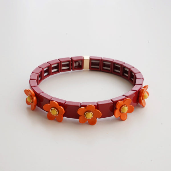 Daisy Enamel Tile Stretch Bracelet Red