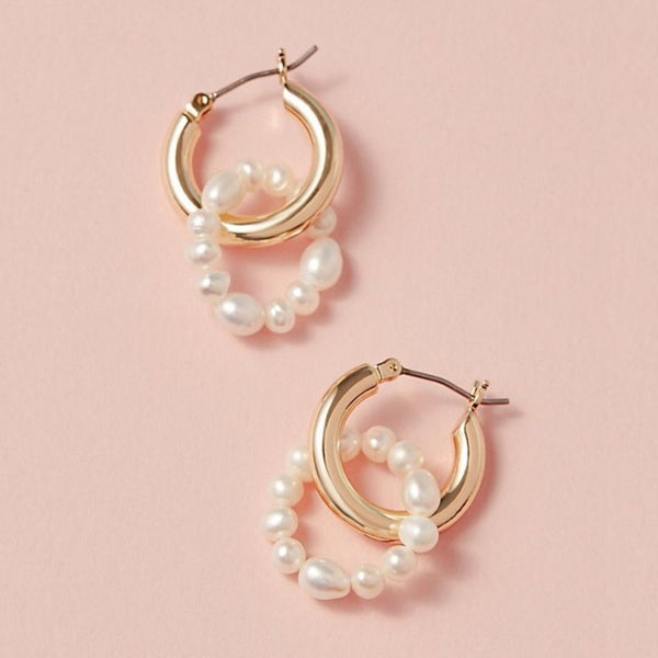Anthropologie Double Drop Pearl Hoop Earrings