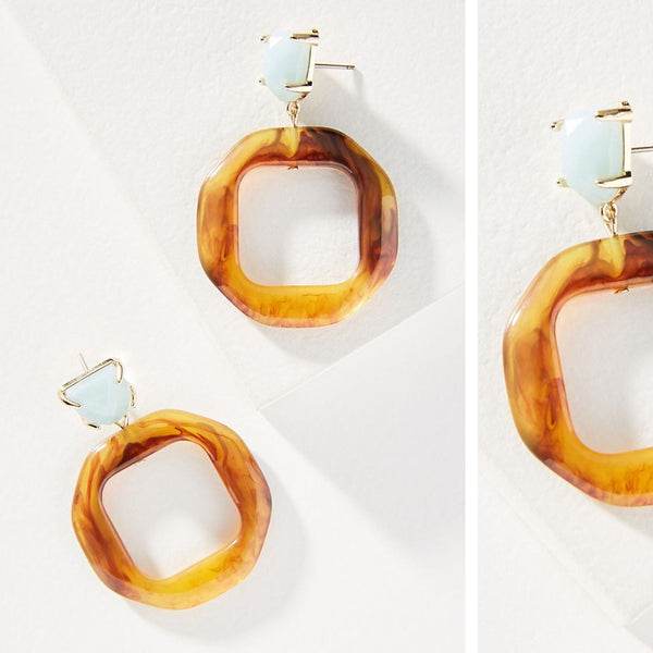 Anthropologie Donna Hooped Drop Earrings