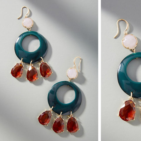 Anthropologie Resin Circular Drop Earrings