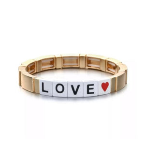 Gold Plated 'LOVE' Enamel Stretch Bracelet
