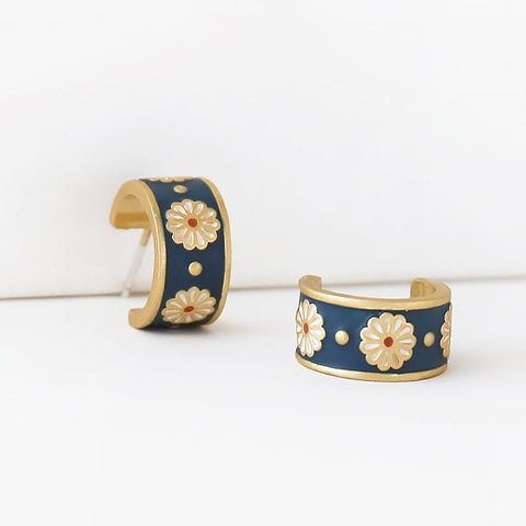 Madewell Daisy Delight Enamel Small Hoop Earrings
