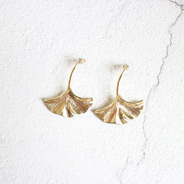 Ginkgo Leaf Drop Earrings