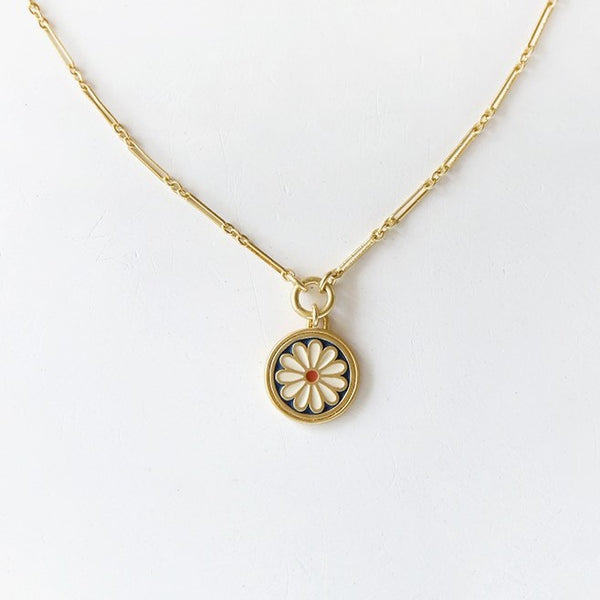 Madewell Daisy Delight Enamel Pendant Necklace