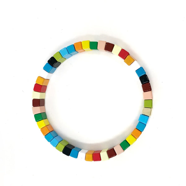 Rainbow Enamel Tile Stretch Bracelet