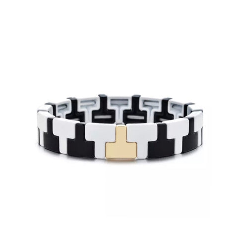 T Shape Enamel Tile Stretch Bracelet