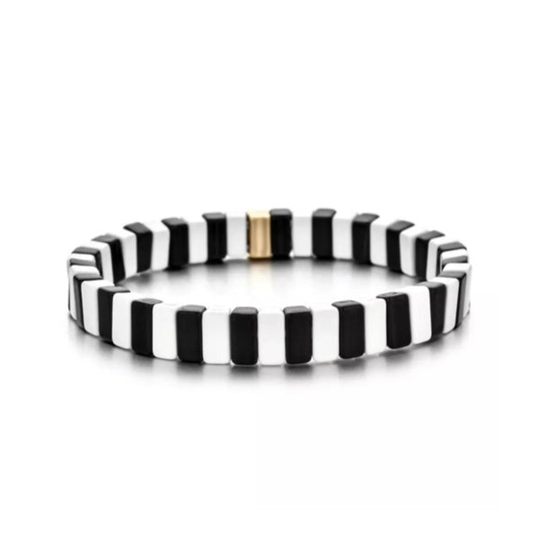 Enamel Tile Bracelet Black White